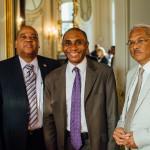 De gauche à droite : S. Exc. M. Reggy Nelson, Ambassadeur de la République du Suriname en France, M. Jean-Claude Beaujour, Vice-Président de France-Amériques, et M. Roy Smits, délégué permanent de la République du Suriname auprès de l'Unesco