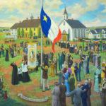 Premier lever - sur terre - du drapeau national de l'Acadie (2005) Claude Picard -  Musée acadien de l'Île-du-Prince-Édouard